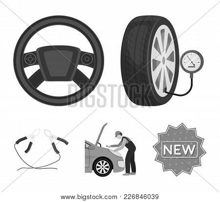 Engine Adjustment, Steering Wheel, Clamp And Wheel Monochrome Icons In Set Collection For Design.car