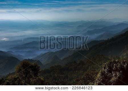 Mountain Layers Scene Of Doi Ang Khang Most Popular Winter Traveling Destination In Chiangmai Northe