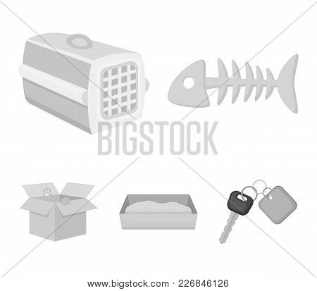 Fish Bone, Container For An Animal, Cat's Toilet, Cat In A Box. Cat Set Collection Icons In Monochro