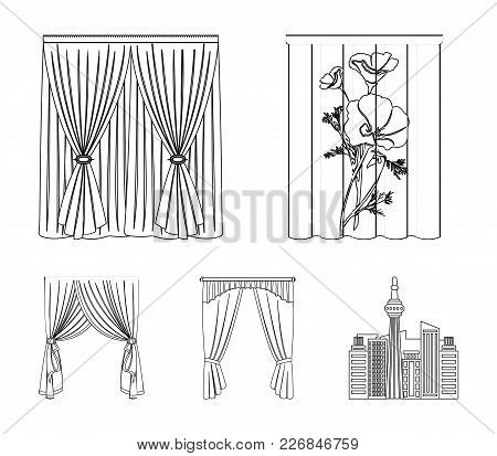 Cornices, Garters, Ribbon And Other  Icon In Outline Style.machine, Textiles, Furniture Icons In Set