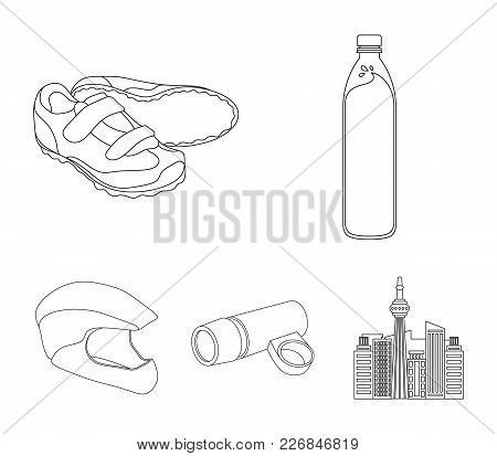 A Bottle Of Water, Sneakers, A Flashlight For A Bicycle, A Protective Helmet.cyclist Outfit Set Coll