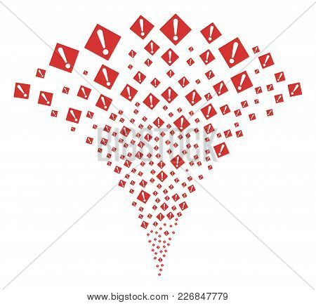 Warning Fireworks Fountain. Vector Illustration Style Is Flat Iconic Symbols. Object Fountain Combin