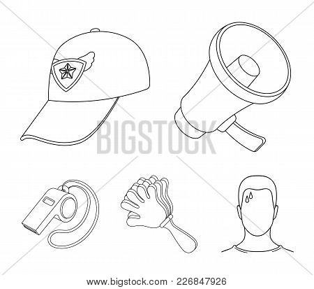 Megaphone, Whistle And Other Attributes Of The Fans.fans Set Collection Icons In Outline Style Vecto