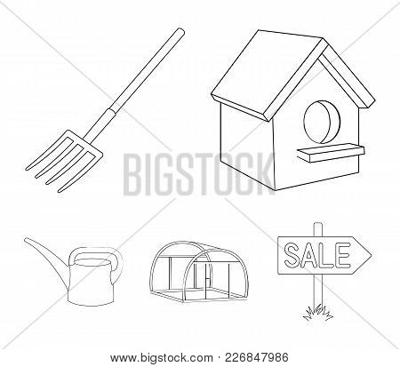 Poultry House, Pitchfork, Greenhouse, Watering Can.farm Set Collection Icons In Outline Style Vector
