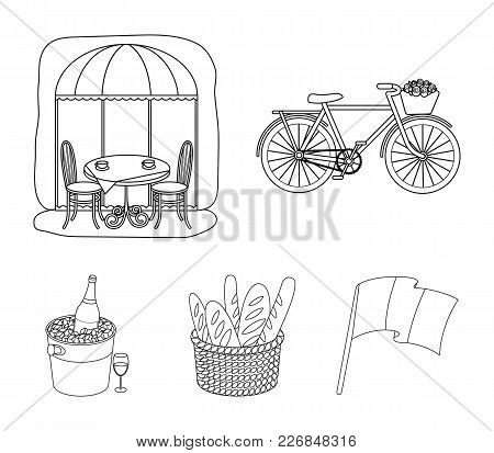 Bicycle, Transport, Vehicle, Cafe .france Country Set Collection Icons In Outline Style Vector Symbo