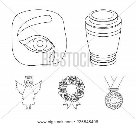 The Urn With The Ashes Of The Deceased, The Tears Of Sorrow For The Deceased At The Funeral, The Mou