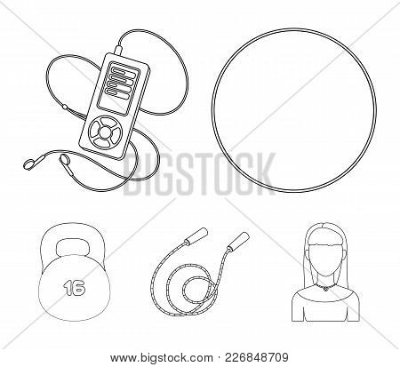 Ball, Player And Other Equipment For Training.gym And Workout Set Collection Icons In Outline Style