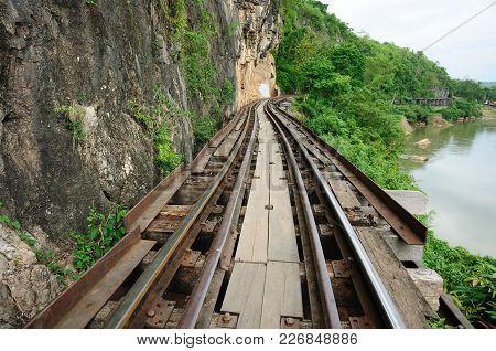 Death Railway Built Between Allied Prisoners Of War (pow) In 1943 , Kanchanaburi, Thailand
