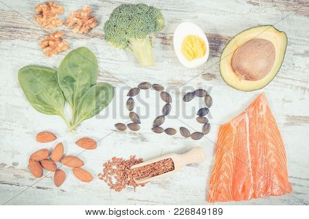 Vintage Photo, Fresh Food Containing Omega 3 Acids, Natural Minerals And Dietary Fiber, Healthy Nutr