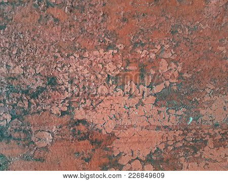 Abstract Grunge Texture Rusty Metal Surface Pink Color With Flakes Of Paint Lagging Behind The Wall