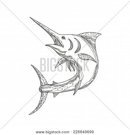 Doodle Art Illustration Of An Atlantic Blue Marlin,  A Species Of Marlin Endemic To The Atlantic Oce