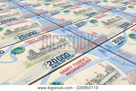 Malagasy ariary bills stacks background. 3D illustration.
