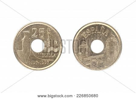 Set, 25 Pesetas Coin, Issued By Spain In 1997. Isolate On White Background