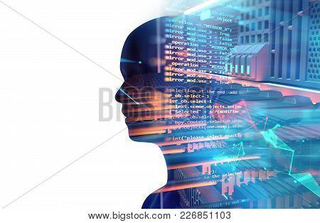 Virtual Human Silhouette On Server Racks In Datacenter. 3D Illustration