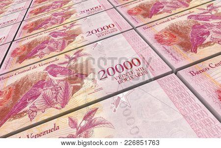 Venezuelan Bolivares bills stacks background. 3D illustration.