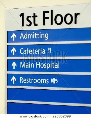 Hospital Directory Indicating Various Locations On The First Floor