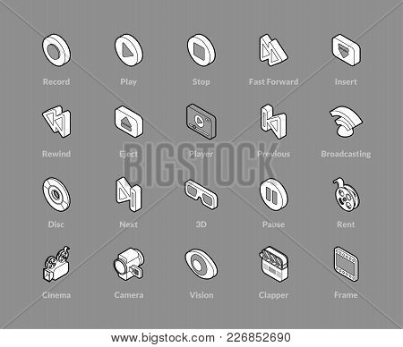 Isometric Outline Icons, 3d Pictograms Vector Set - Media Symbol Collection