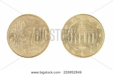 Set Of Commemorative The Coin, The Nominal Value Of 10 Euro Cent, From 2002. Isolate On White Backgr