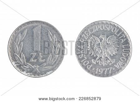 Set Of Commemorative The Poland Coin, The Nominal Value Of 1 Zloty, From 1977. Isolate On White Back