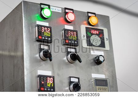 Industrial, Electric Switch Panel With Buttons In Different Colours.