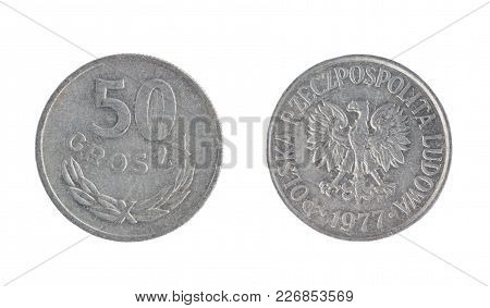 Set Of Commemorative The Poland Coin, The Nominal Value Of 50 Groszy, From 1977. Isolate On White Ba