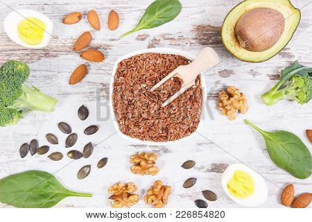 Natural Sources Of Omega 3 Acids, Unsaturated Fats And Dietary Fiber, Concept Of Healthy Nutrition