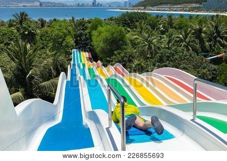 Chilren Water Slides In Aqua Park By The Sea