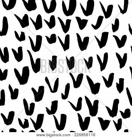 Brush Check Mark Seamless Pattern. Hand Painted Grunge Ticks Background. Black And White Vector Illu