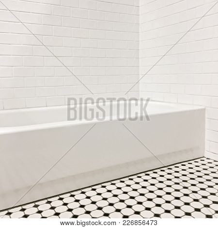 New Bathroom With Ceramic Tile Walls And Floor. Contemporary Design.