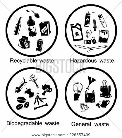 Waste Types Icon Set, Recyclable, Hazardous, Biodegradable And General Waste, Symbol For Separation