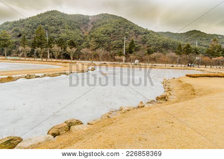 Winter Landscape Of Frozen Man Made Pond With Tall Reeds Sticking Through Ice  With Mountain And Clo