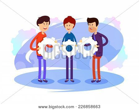 Successful Development Team. Group Of People With Gears In Hands. Vector Illustration