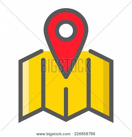 Pinpoint On Map Filled Outline Icon, Geolocation And Navigation, Gps Sign Vector Graphics, A Colorfu