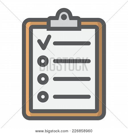 Checklist Filled Outline Icon, Clipboard And Note, Checkmark Sign Vector Graphics, A Colorful Line P