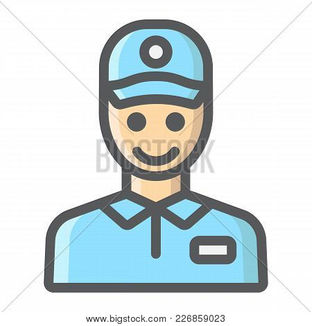 Delivery Man Filled Outline Icon, Logistic And Delivery, Courier Sign Vector Graphics, A Colorful Li