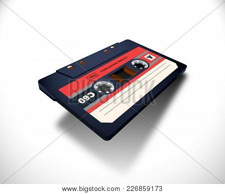 Compact Cassette With C60 Tape In Perspective View For 80s Styled Covers, Banners And Party Posters