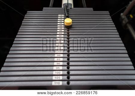 Black Metallic Or Iron Heavy Plates Stacked For Sport, Exercise, Weight Machine With Kilogram And Po