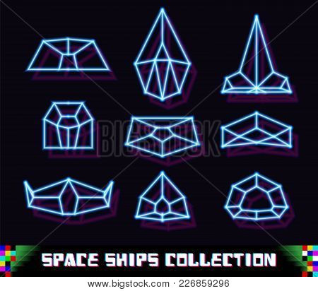 80s Styled Neon Space Ships Set In New Retro Wave Trend With Laser Geometric Grid Shapes