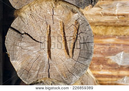 Numbered Log Wooden House. Eco Friendly Construction