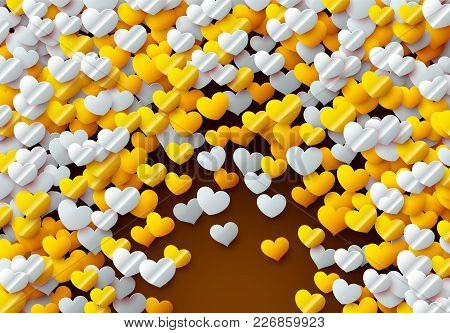 Valentines Day Card With Scattered Colorful Foil Hearts For Showing Love To Your Partner, Greeting O