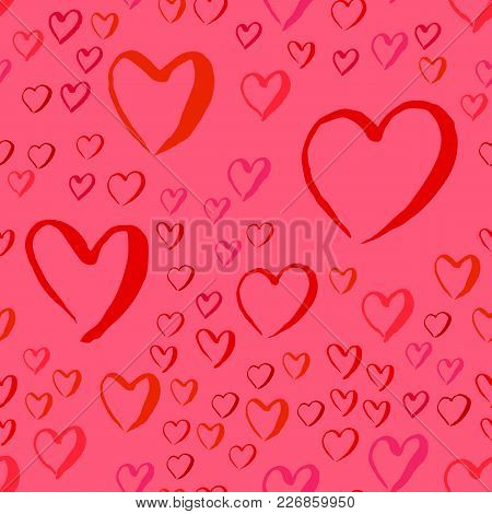 Drawn Hearts Seamless Pattern With Red And Pink Heart Symbols For Valentines Day