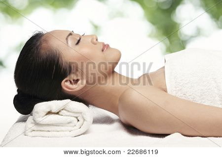 Relaxed Woman Ready For A Massage