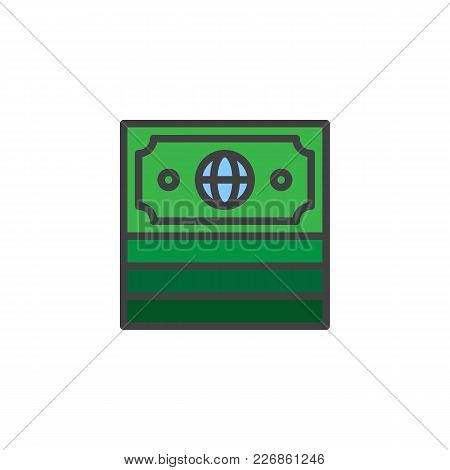 Money Currency Filled Outline Icon, Line Vector Sign, Linear Colorful Pictogram Isolated On White. M