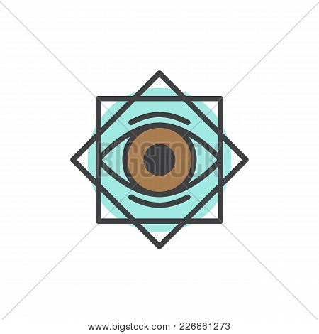 Eight Pointed Star With All Seeing Eye Filled Outline Icon, Line Vector Sign, Linear Colorful Pictog
