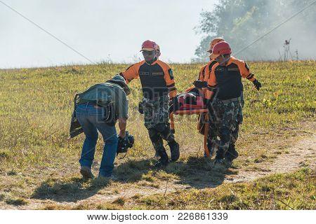 Nakhon Ratchasima, Thailand - December 23, 2017: Rescue Team Carrying Injured Passenger To Hospital