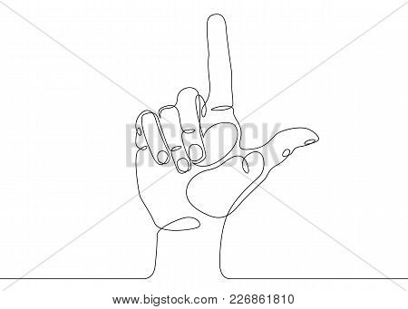 Continuous One Line Drawing Hand Palm Fingers Gestures. Hand Pointing Direction Finger