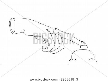 Continuous One Line Drawing Hand Palm Fingers Gestures. Gesture Call Reception