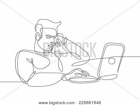 Continuous Drawn Hand-drawn One Line Of The User Sitting At The Computer. Concept Work For A Laptop