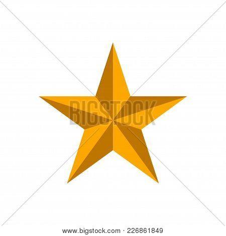 Golden 3d Star Isolated On White Background. Vector Illustration