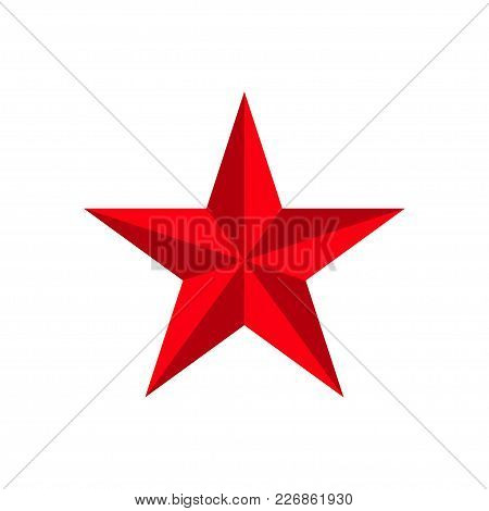 Red 3d Star Isolated On White Background. Icon Awards, Prize, Victory, Win, Rating. Vector Illustrat